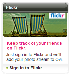 Flickr sign-in at Ovi.com