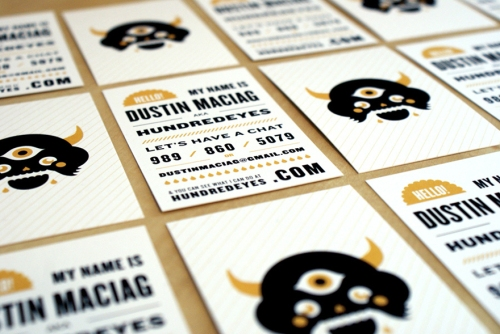 Business card for Dustin Maciag of HundredEyes